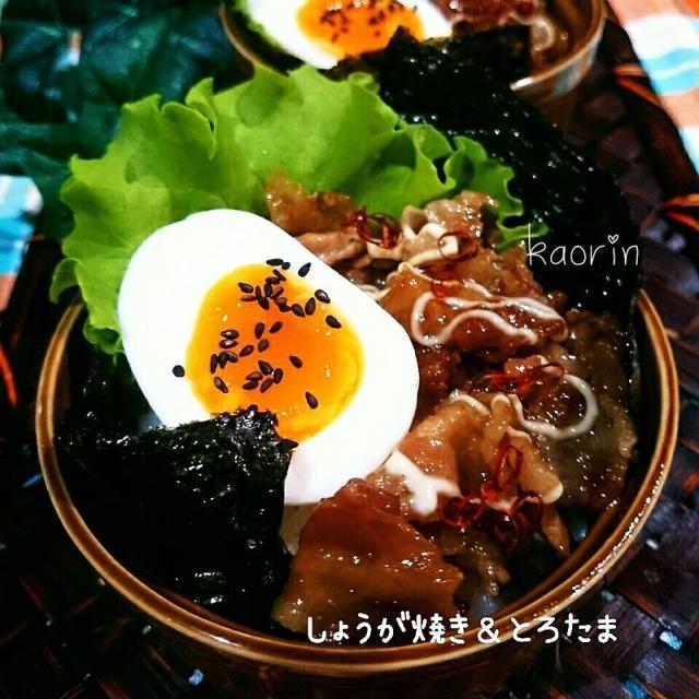 絶妙コンビ‼豚生姜焼き&トロたまココットのりご飯❤
