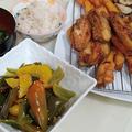 焼き肉のタレでピーマンとパプリカのお浸し☆久しぶりのチキンバー沢山焼きました!