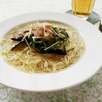 冷たいなすの香味スープパスタ
