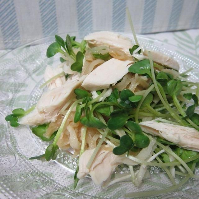切り干し大根とサラダチキン、カイワレのサラダ