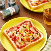 ハーブ香るピザソースと食パンde彩り野菜とソーセージのピザ