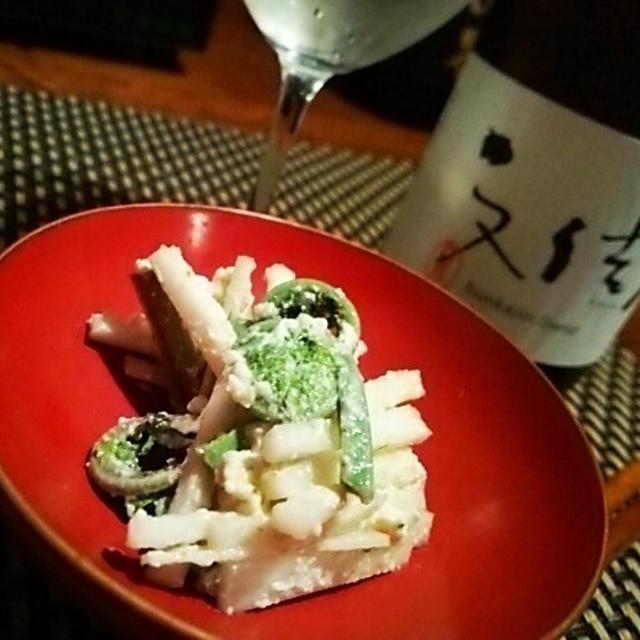 こごみとうどの柚子胡椒チーズ和え、白貝と春キャベツの蒸し物、ボッコの煮付、筍ご飯