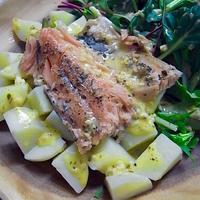 低温調理の日本鱒とサラダの夕食