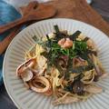 【パスタレシピ】イカときのこのたらこ和え和風スパゲッティ
