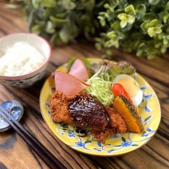 主婦めし*おうちランチ〜味噌カツプレート