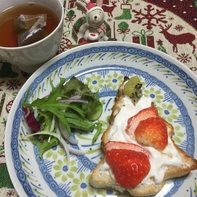 クリスマスイブのひらめき朝食♡「クリスマスツリーのオープンサンド」