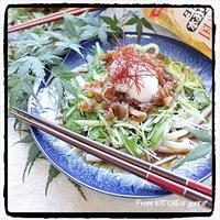 ひんやり‼︎甘口豚肉うどん♬温泉たまごのっけ★完成version