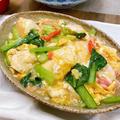 豆腐と卵の小松菜かにかまあんかけ