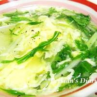 簡単!みず菜の中華風とろりんスープ♪