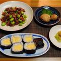 晩御飯が出来あがったところに・・・蛍烏賊と空豆のペペロン炒め♪・・♪