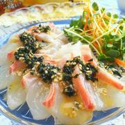 わかめスープを使って!鯛のお刺身☆カルパッチョ風