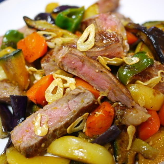 焼き野菜とサーロインのサラダ