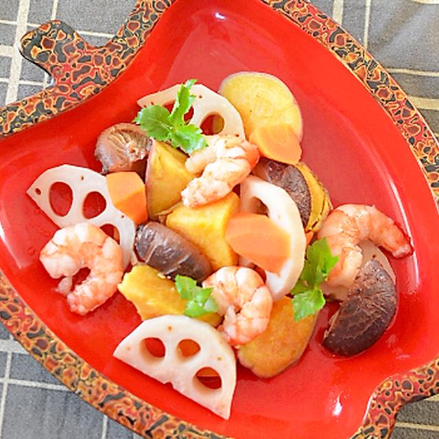 牡蠣だし醤油で根菜と海老の吹き寄せ煮♪
