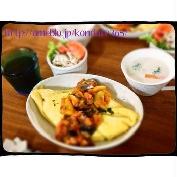 【献立204】カポナータオムライス&白菜とベーコンのミルクスープ