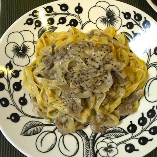 挽肉と舞茸の味噌クリームパスタとシロさんのトマトスープ