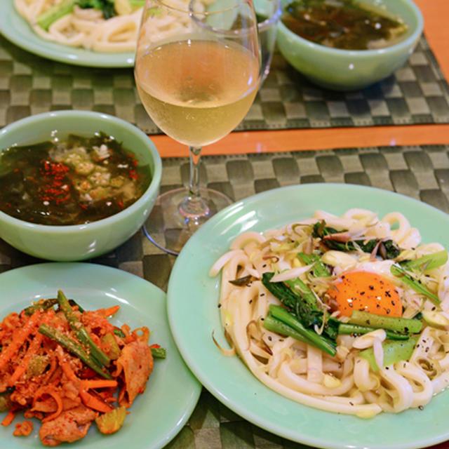 8月5日 水曜日 小松菜の温玉うどん&しらすご飯の餡かけ卵丼(2日分の晩ごはん)