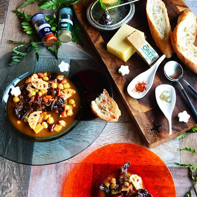 エルブ・ド・プロバンス香る 簡単あったか冬スープ きくらげとれんこんとお豆のスープ と 近所のスーパー #ワインに合うスープレシピ #豊菜JIKAN #家バル #夕月 #スパイス大使