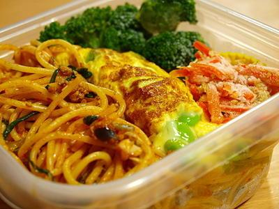 肉味噌リメイク、のスパゲッティ・ボロネーゼ弁当