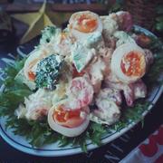 秋の夕暮れ❤️と、抱えて食べたい❤️絶品味卵で海老アボカドのタルタルサラダ♪