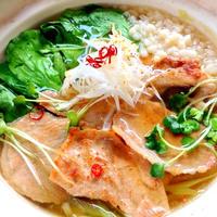 鍋焼き風*豚肉の生姜焼きと青梗菜のうどん