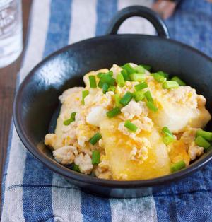 味付けは白だしのみ♪胃腸にやさしい♪『豆腐と鶏そぼろの卵とじ』