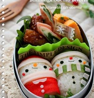 話題入り感謝♪俵サンタのおにぎり弁当&作り方~キャラ弁~