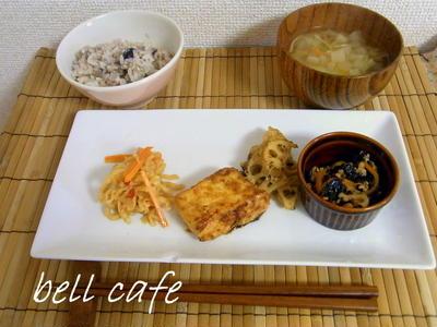豆腐と蓮根の金平風
