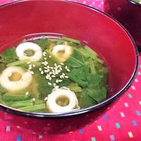 【レシピ】素朴で美味★優しい味★おふくろの味【竹輪とほうれん草の味噌汁】
