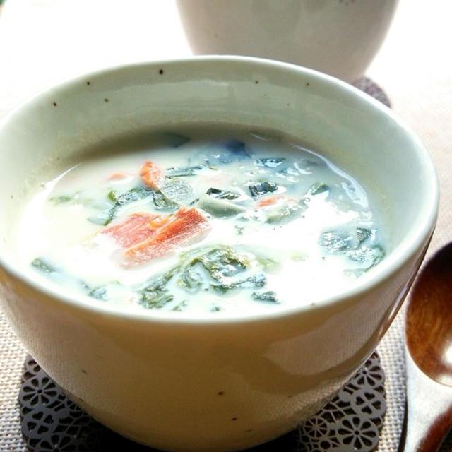 鮭とほうれん草の豆乳コンソメスープ☆
