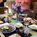 レシピ付き献立 アボカドと小えびの和風サラダ・ポテトとチキンの和風グリル・甘鯛としいたけの土瓶蒸し・山菜の天ぷら・お煮しめ・手巻き寿司