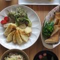 筍定食 (筍ごはん、筍の天ぷら 甘酢あん、筍と桜えびと菜の花のだし巻き・・・) by カシュカシュさん