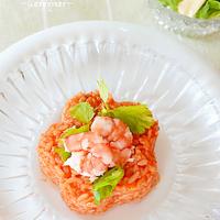 完熟トマト・ソースとおのこりご飯でリゾット風♪