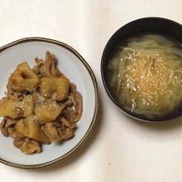 れんこんと豚肉の炒め煮と桜えびと大根、ねぎの味噌汁