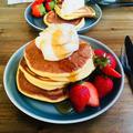 油脂不使用○自家製酵母のパンケーキ。メレンゲ後混ぜでシュワフワです!