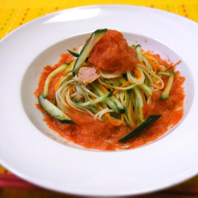 トマトシャーベットの彩菜素麺♪