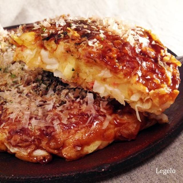 キャベツ大きめ豆腐で口当たり軽く♪ 関西風お好み焼き 再掲載