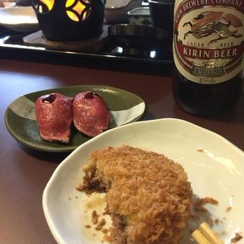 近江八幡ひるごはん…*千成亭で牛赤身寿司&メンチカツ*