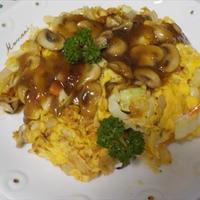 キャベツの卵ソテー・マッシュルーム餡かけソース