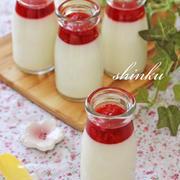 簡単*練乳ミルクプリンwithいちごソース