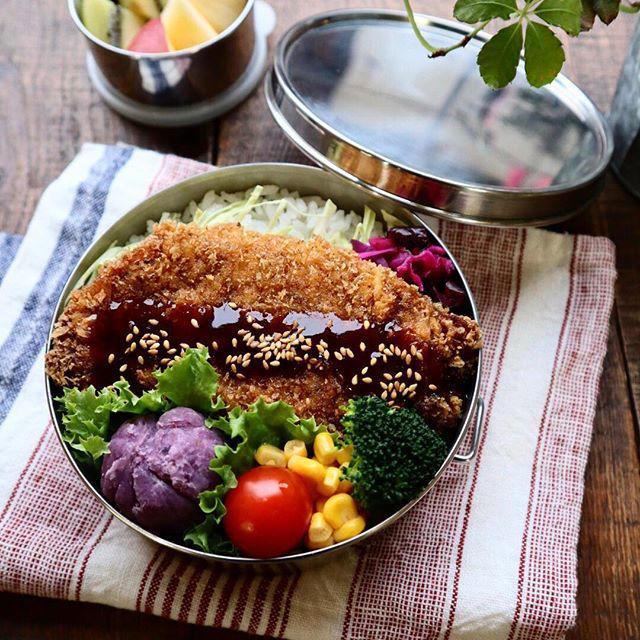 とんかつのっけ弁当♡【#お弁当#とんかつ】