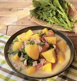 群馬県産春菊とじゃが芋のクリーム煮【ぐんまクッキングアンバサダー】