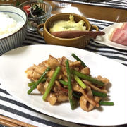 疲労回復&食欲増進!ご飯も進む〜豚肉とにんにくの芽の中華風炒め♪…試合2日前の献立