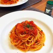 アンチョビのトマトソースパスタ~チャービル風味~