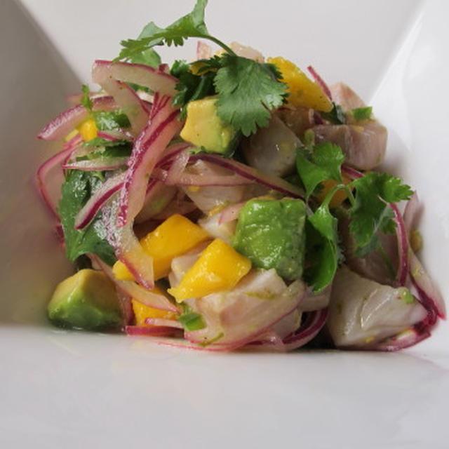 カンパチのセヴィチェ & アスパラと半熟卵のサラダ  7・4・2012