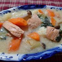 鮭と野菜の豆乳シチュー