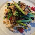野郎飯流・柚子白味噌で食べるほぐしチキンとソテー舞茸に小松菜