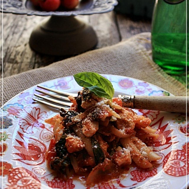 鶏肉とホウレン草のトマトパスタと、ダイエット結果発表!
