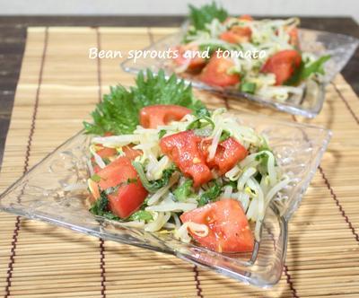 パパッと野菜の小鉢♪トマトとモヤシのラーポン和え