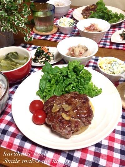 新玉牛ステーキとほうれん草とひじきのサラダde鉄分強化DAY!