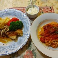 タラのグリルと唐揚げトマトソーススパゲティー